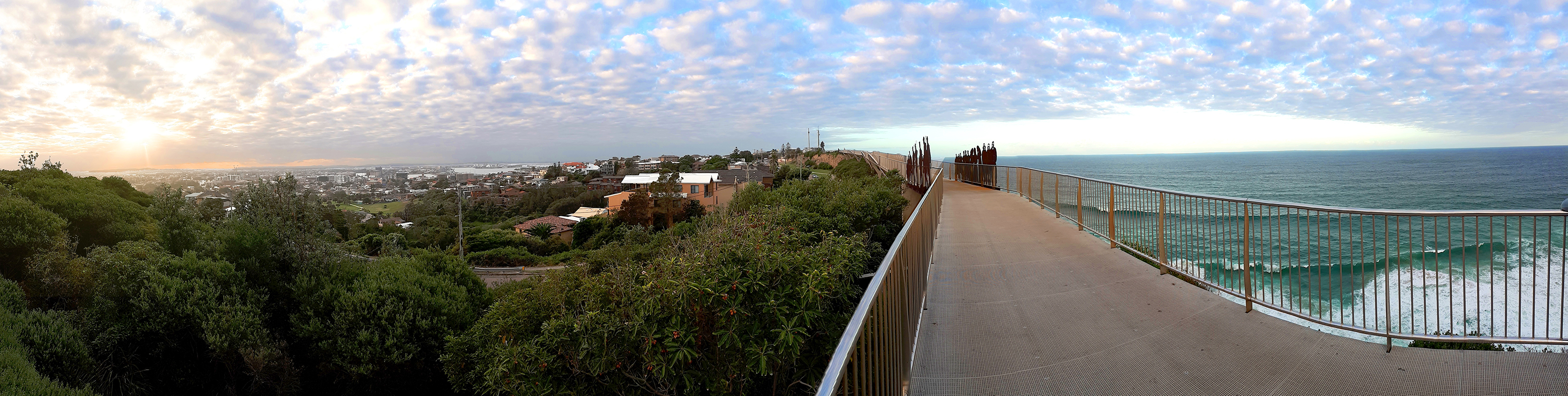 photograph of the anzac walk and bridge in newcastle and the view over the pacific ocean and city