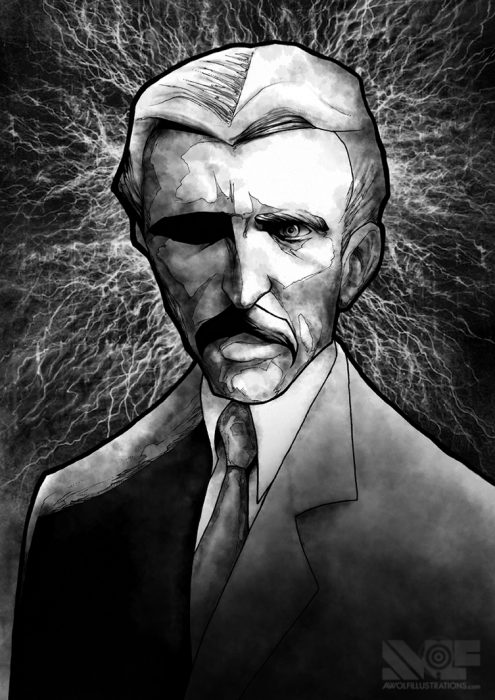 ink drawing with shadows created using photoshop of inventor genius portrait of nikola tesla surrounded by electricity