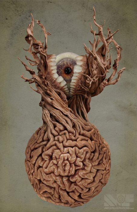 a photoshop photosmash artwork of a circular brain with a dead tree growing out of it and teeth and an eye emerging