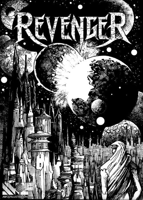 the heavy metal band revenger shirt design for the ep album cover