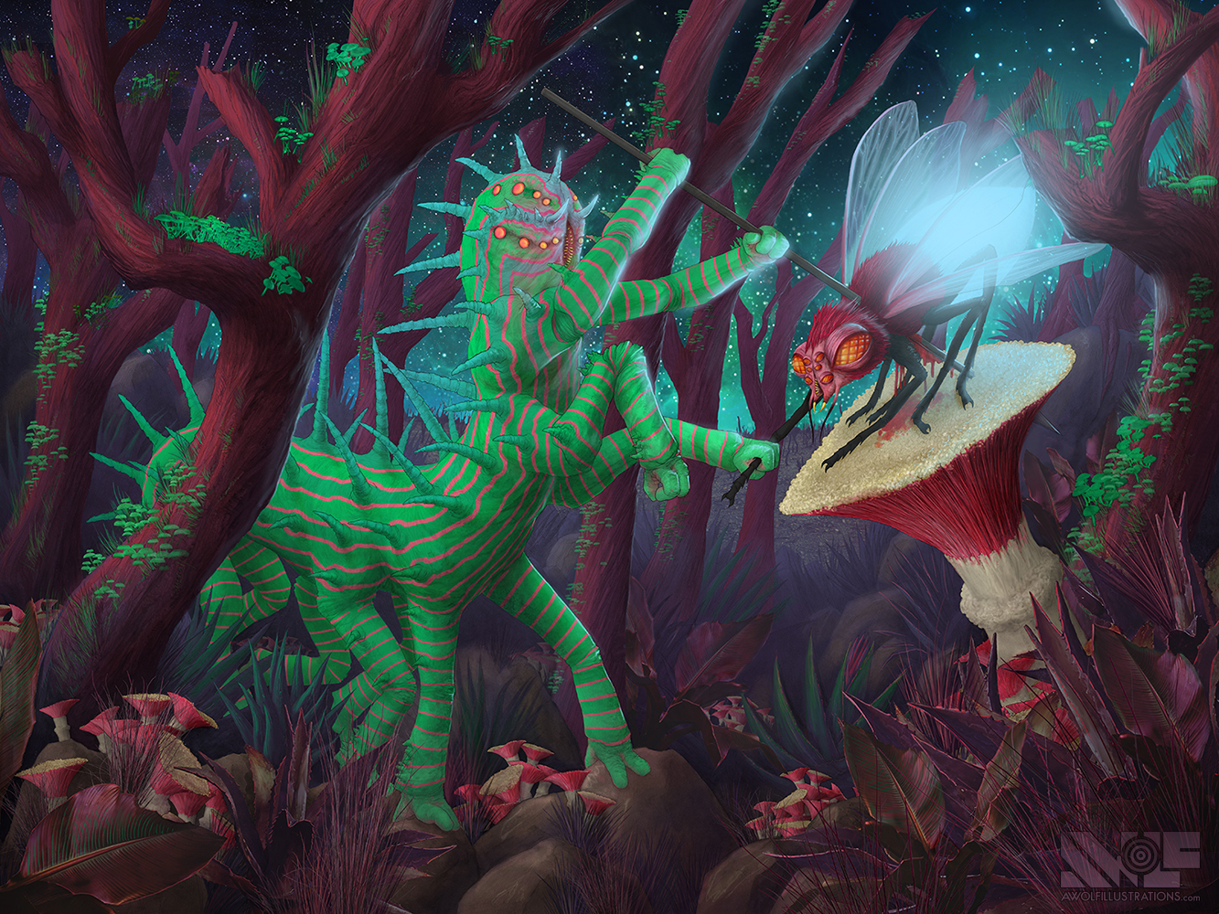 a coloured digital photoshop illustration of a hunt on a space planet a giant demon caterpillar attacking a fire fly with a spear