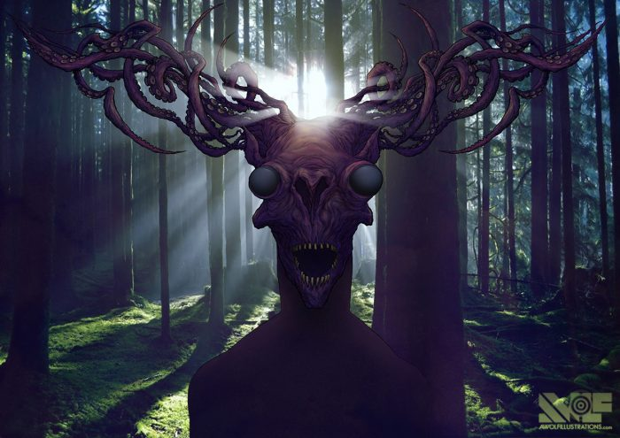 a digital photoshop illustration art and photograph combination of a horrific creature and sea donkey with octopus tentacle horns creeping in the trees