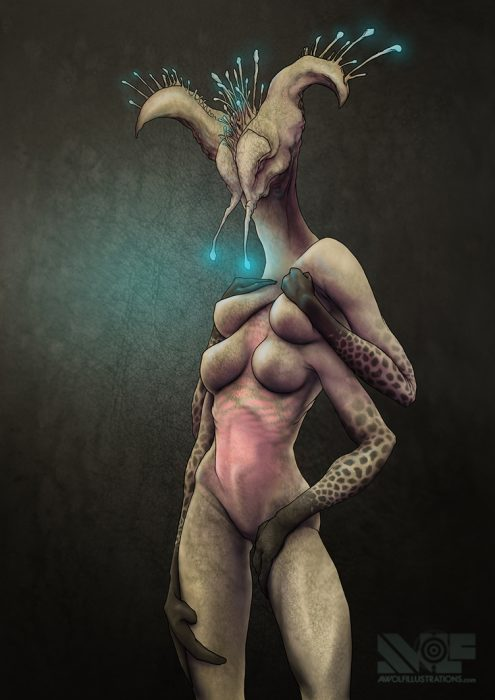 a digital colour photoshop illusion art of an naked alien woman slug with boobs and leathery skin