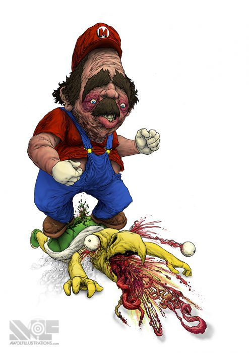 a digital photoshop drawing of super mario jumping and landing on a koopa troopa and him puking out his bloody guts and organs