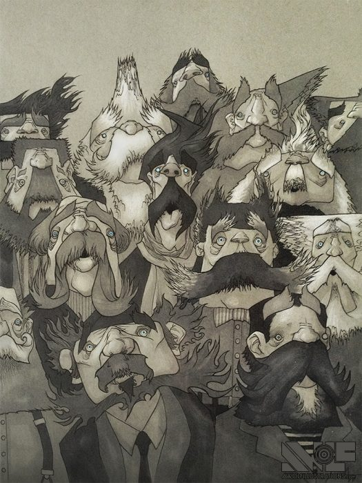 a ink pen and comic hand drawing of a group of old men with weird hair and moustaches and beards looking frightened