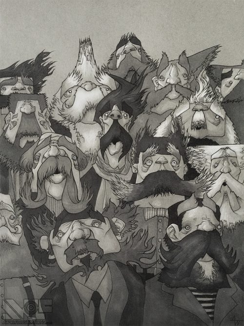 a hand drawing of old men with moustaches and beards in comic marker and ink for sale to buy