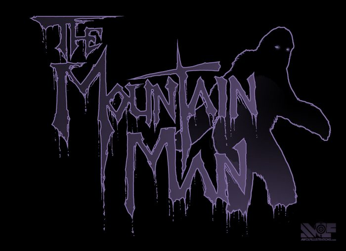 a logo of text and a sasquatch mountain man for a heavy metal thrash band