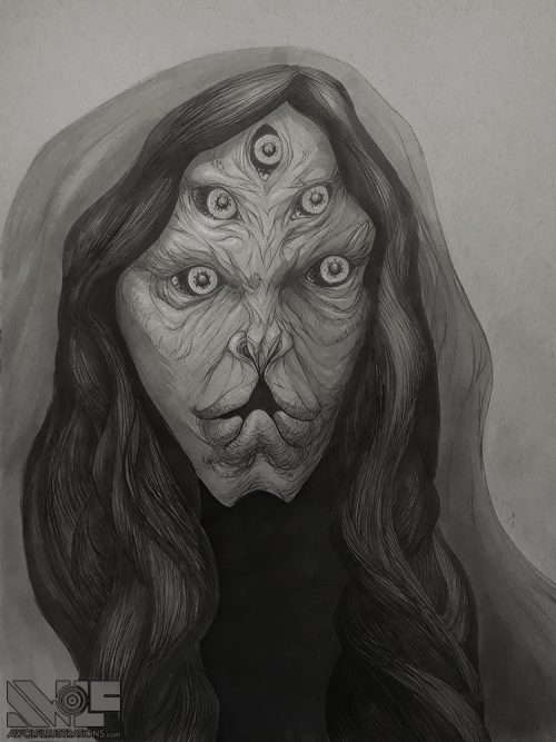 hand drawing with pencil topic marker and ink of a five eyed which for sale buy