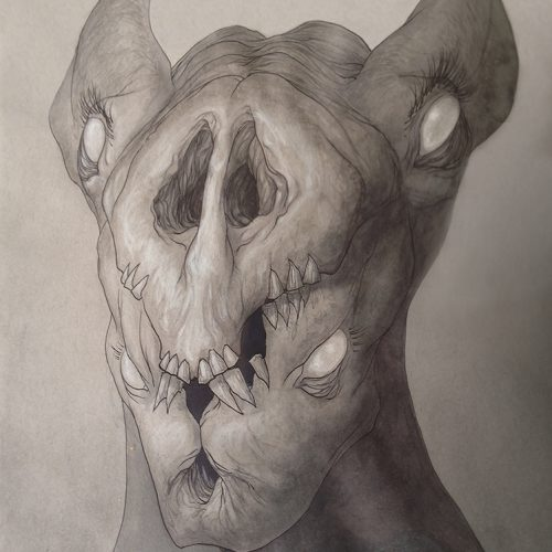 an ink and pencil drawing of a monster pig man for sale