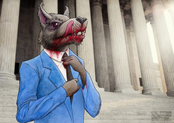 a hand drawing and painting watercolour of a wolf in a suit dripping blood on the steps of wall street evil banker