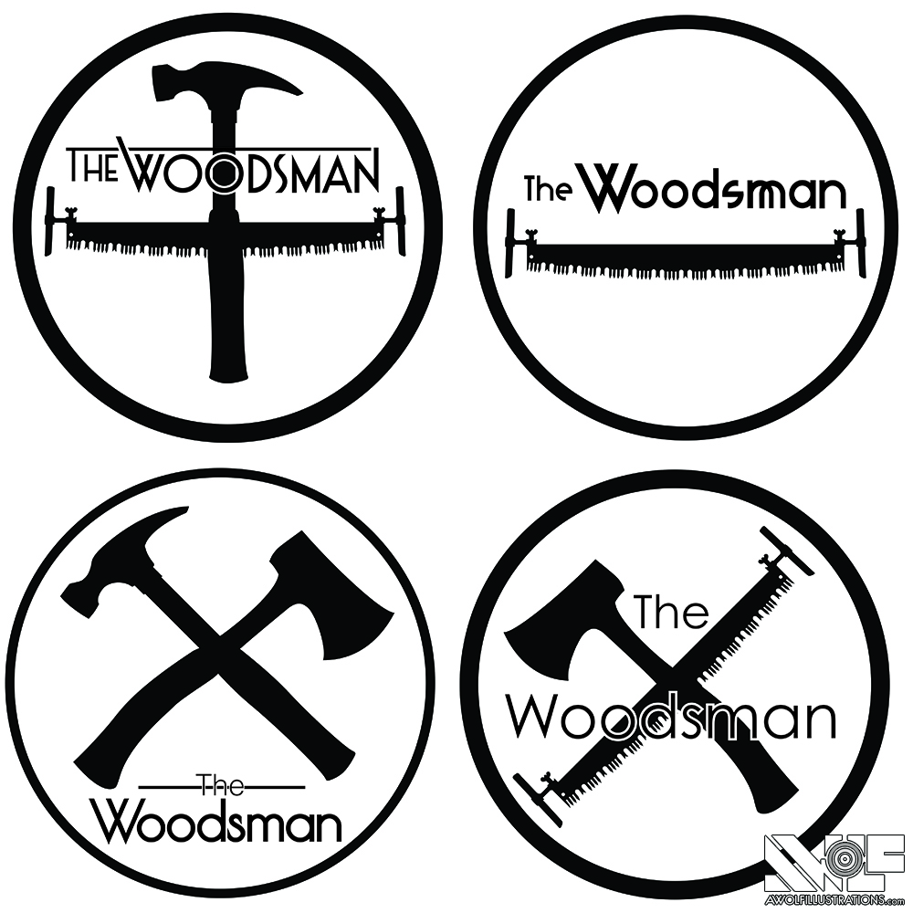 four different logos using illustrate vector art for the woodsman combining hammer saw axe in a circle