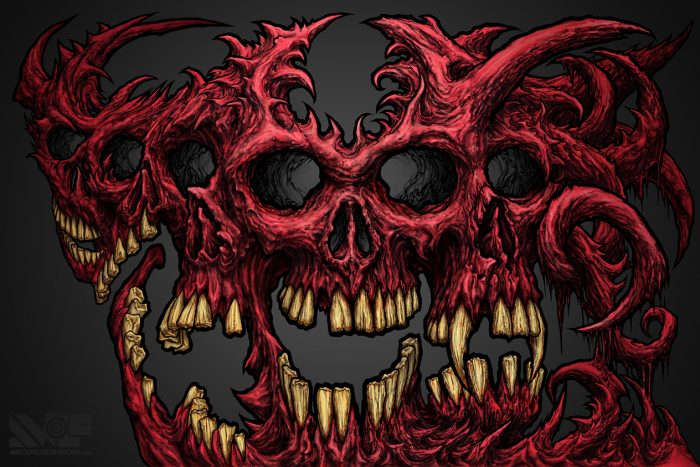 two hand ink and pencil illustration artwork with glen craig and coloured pink and red using photoshop of skulls twisted together