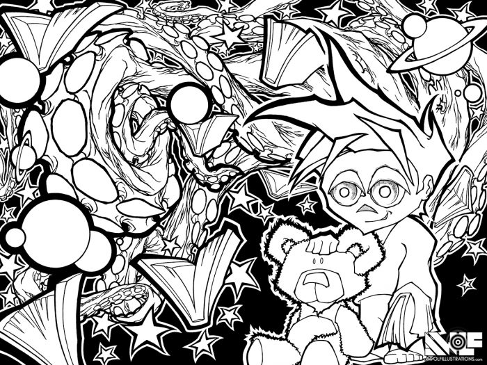 pen and ink illustration art for a comic book cover of a boy and his teddy bear that battle monsters from nightmares they are surrounded by books planets and octopus tentacles
