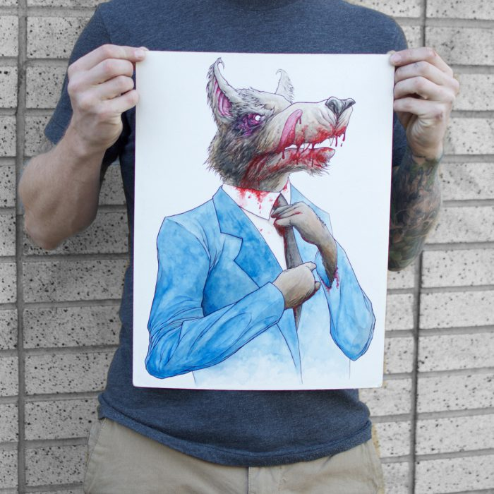 a watercolour and ink drawing of a wolf with a bloody mouth in a bankers suit for sale to buy