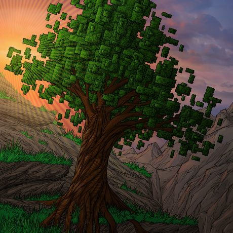 coloured artwork of a pixel tree on a cliff top overlooking mountains with the sun setting in the background