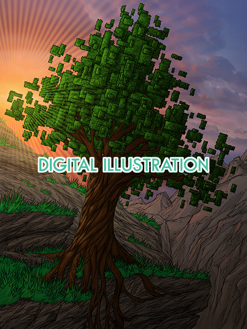 front page home image for the digital artwork section of aaron wolf art website