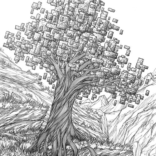 pixel tree hand drawn line ink pen artwork with mountains