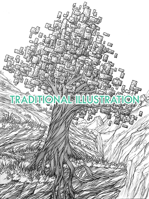 pixel tree image to access aaron wolf black and white hand illustrations