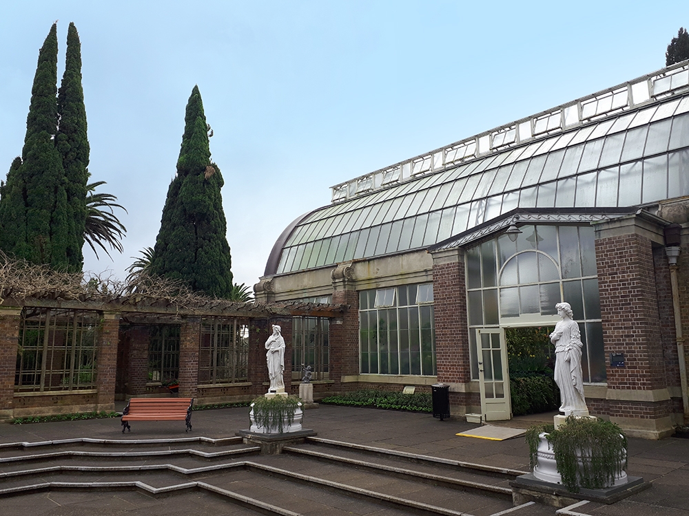 the courtyard of the winter garden and fernery at Auckland Domain
