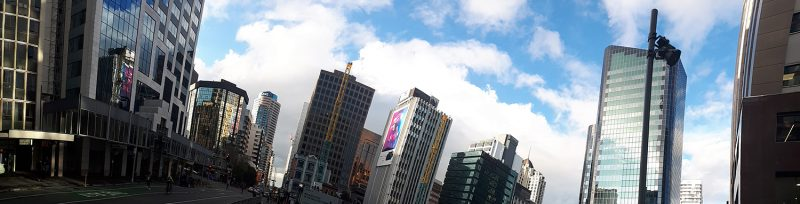 a distorted panorama of the skyline of Auckland, New Zealand's skyline