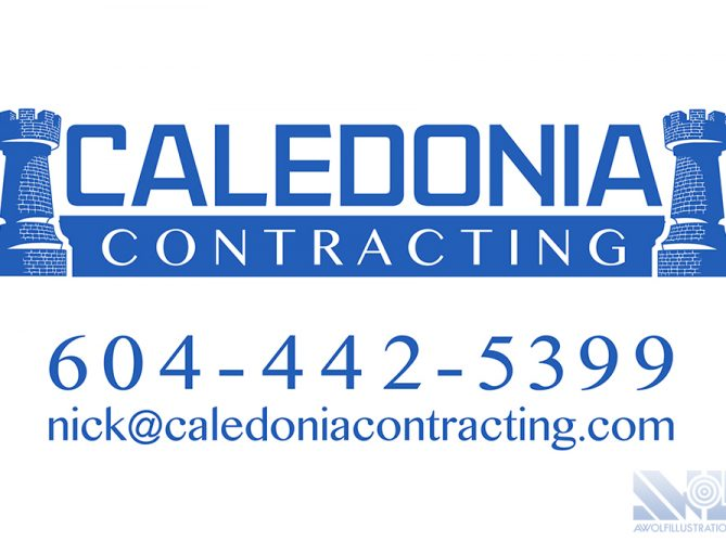a logo design for Caledonia Contracting, and construction and renovation company in Vancouver British columbia