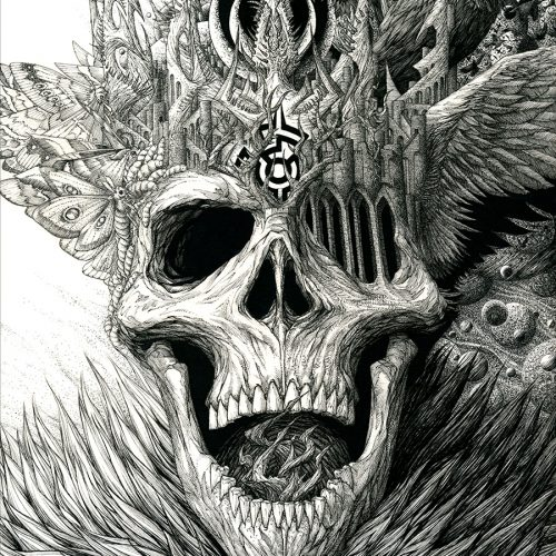 Micron pen illustration of the king of the dead with a crown of bone, moths, ravens, maggots, abandoned castles, and planets