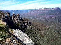 The Blue Mountains, the Three Sisters and the valley far below
