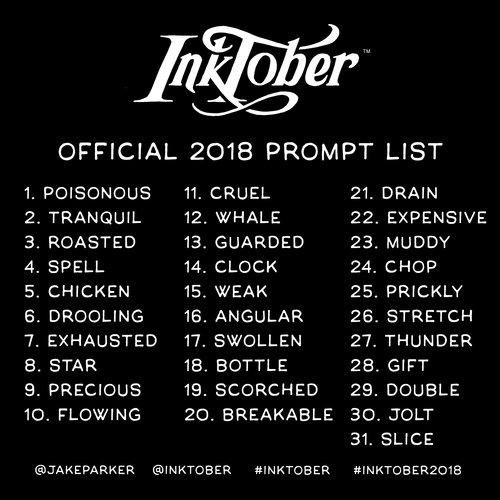 inktober 2018 prompts