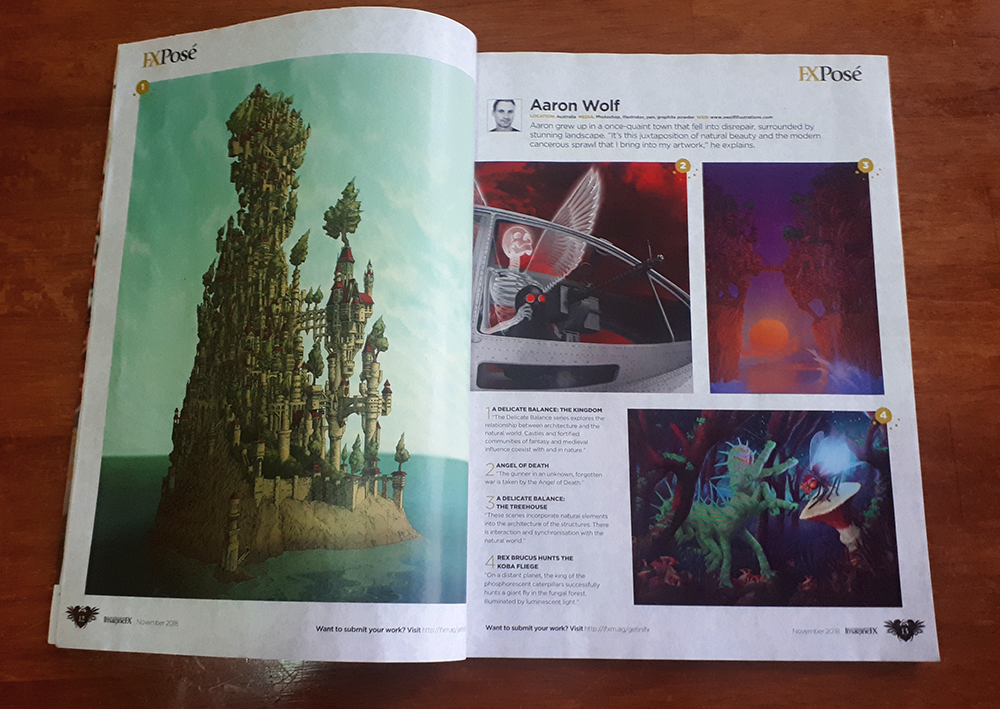 Interior double page layout iof Aaron Wolf's digital art in ImagineFX Issue 166