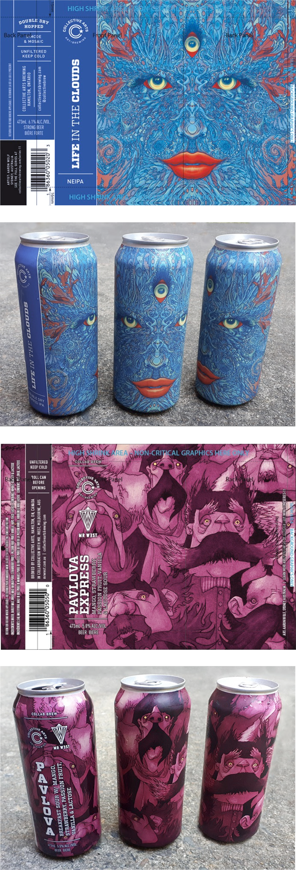 Photographs of both different cans of Collective Arts Brewing beers that my art was featured on the label.  One is an IPA and the other is a Pavlova fruit sour