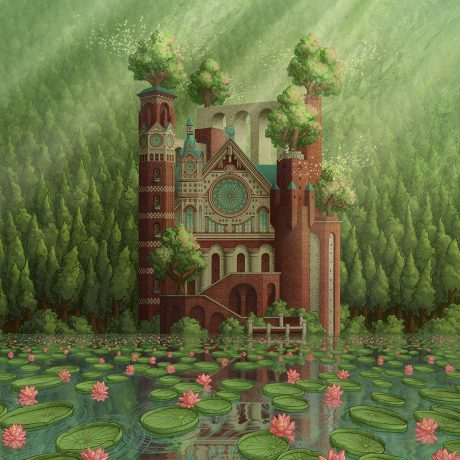 An updated piece of artwork of a cathedral and its reflection on the edge of a lily pad covered lake