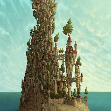An digital illustration of a castle on an island in the middle of the ocean