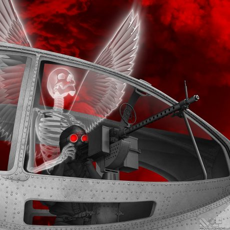 A digital drawing created on photoshop of a world war 2 machine gunman in a plane and an angel emerging from his body with wing extended