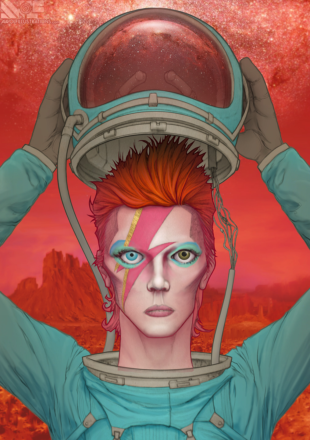 Created around the time David Bowie died this depicts him as an astronaut upon the surface of the red planet Mars