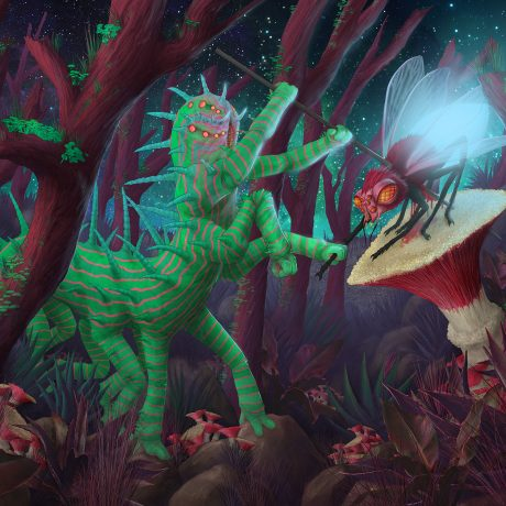 A science fiction illustration of a giant caterpillar impaling a fly with a spear in the middle of the night