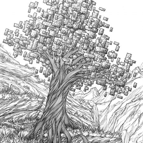A hand drawn, ink illustration of a pixel inspired tree