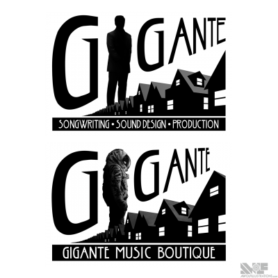 A logo design and the changes that the client suggested for their commercial music production company