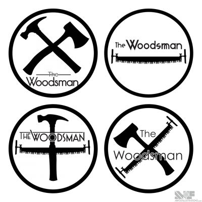 Multiple black and white logo designs for a Melbourne, Australia based woodworking company that reconstituted scrape wood cuttings into household objects