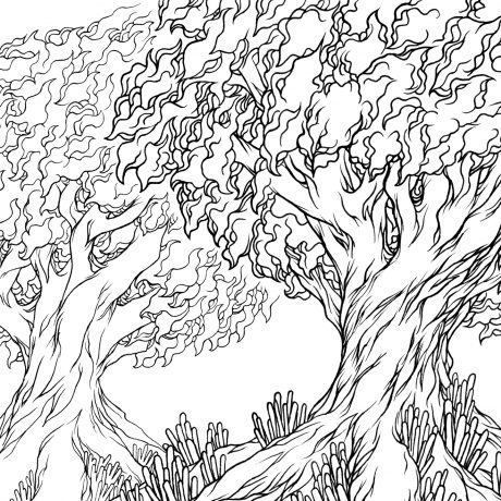 An ink drawing of a set of two black and white trees from my sketchbook project