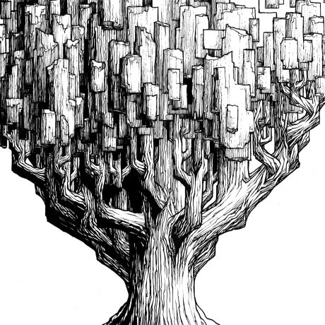 An ink drawing of a tall, pixelated black and white large tree from my sketchbook project