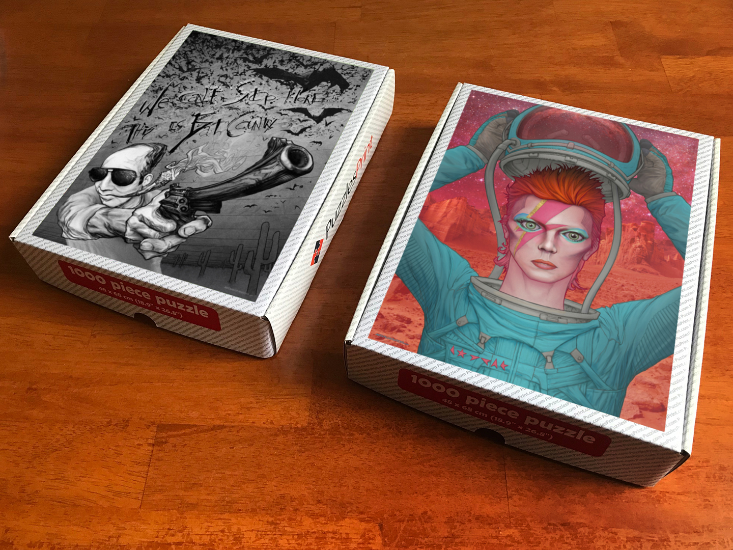 Pandemic Puzzles by Aaron Wolf: David Bowie and Hunter S. Thompson jigsaw puzzles available online and through Etsy
