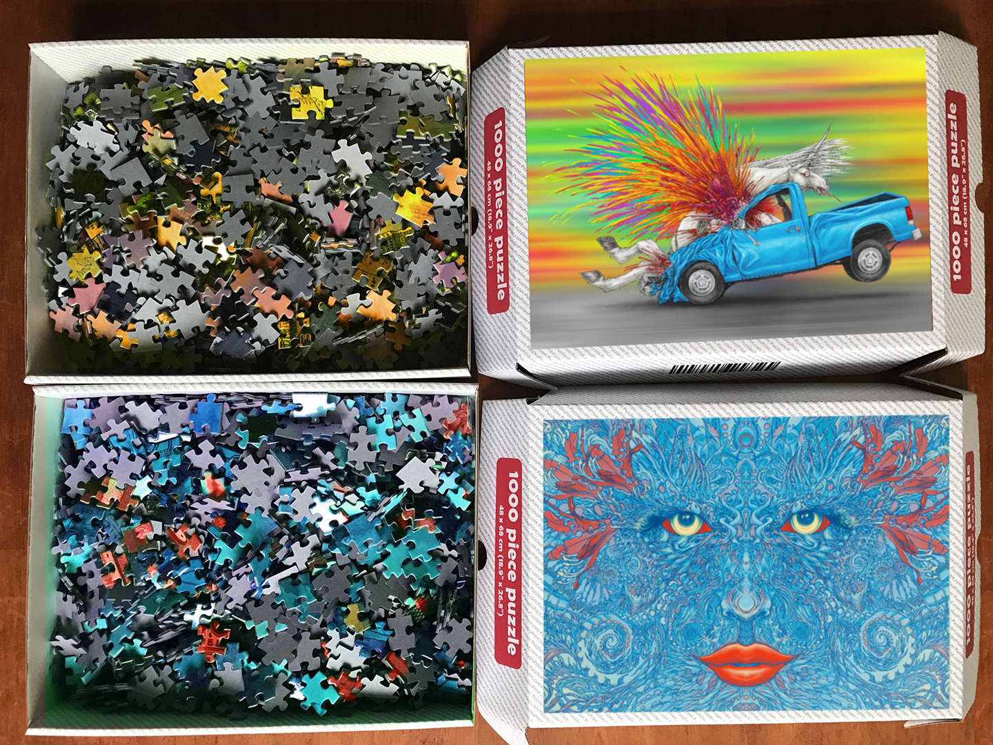 Pandemic Puzzles by Aaron Wolf: Mother Nature and Death of the Auto Industry 1000 piece jigsaw puzzle box sets
