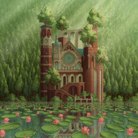A digital artwork coloured on Adobe Photoshop which depicts a grand brick cathedral sitting on the edge of a body of water.