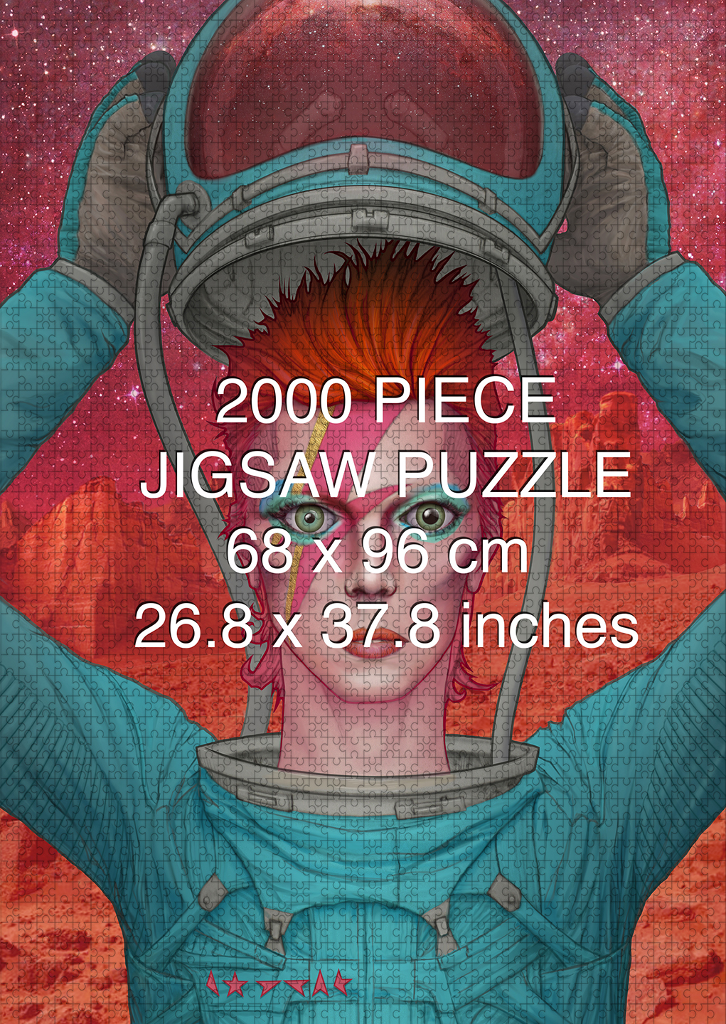 David Bowie: Ziggy Stardust on Mars 2000 piece puzzle by Aaron Wolf and Pandemic Puzzles
