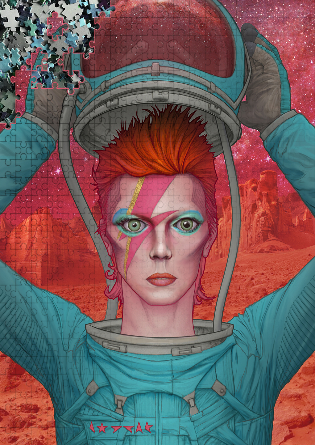 David Bowie: Ziggy Stardust on Mars display image for the art of Aaron Wolf and the jigsaw puzzles of Pandemic Puzzles, available online in the store of www.awolfillustrations.com and Etsy.com