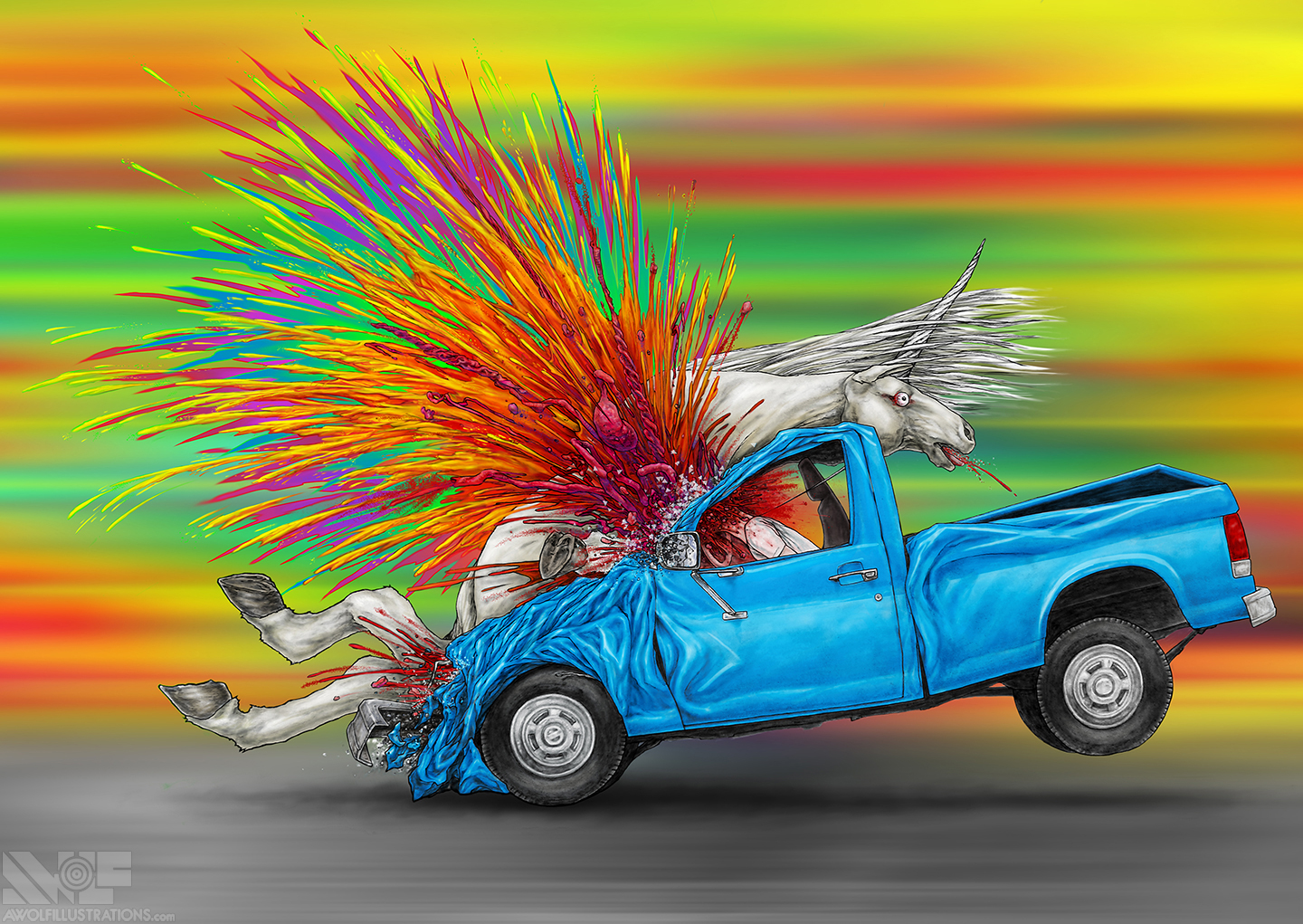 A colourful, rainbow digital illustration of a hyper violent collision between a unicorn and an old Ford pickup truck.