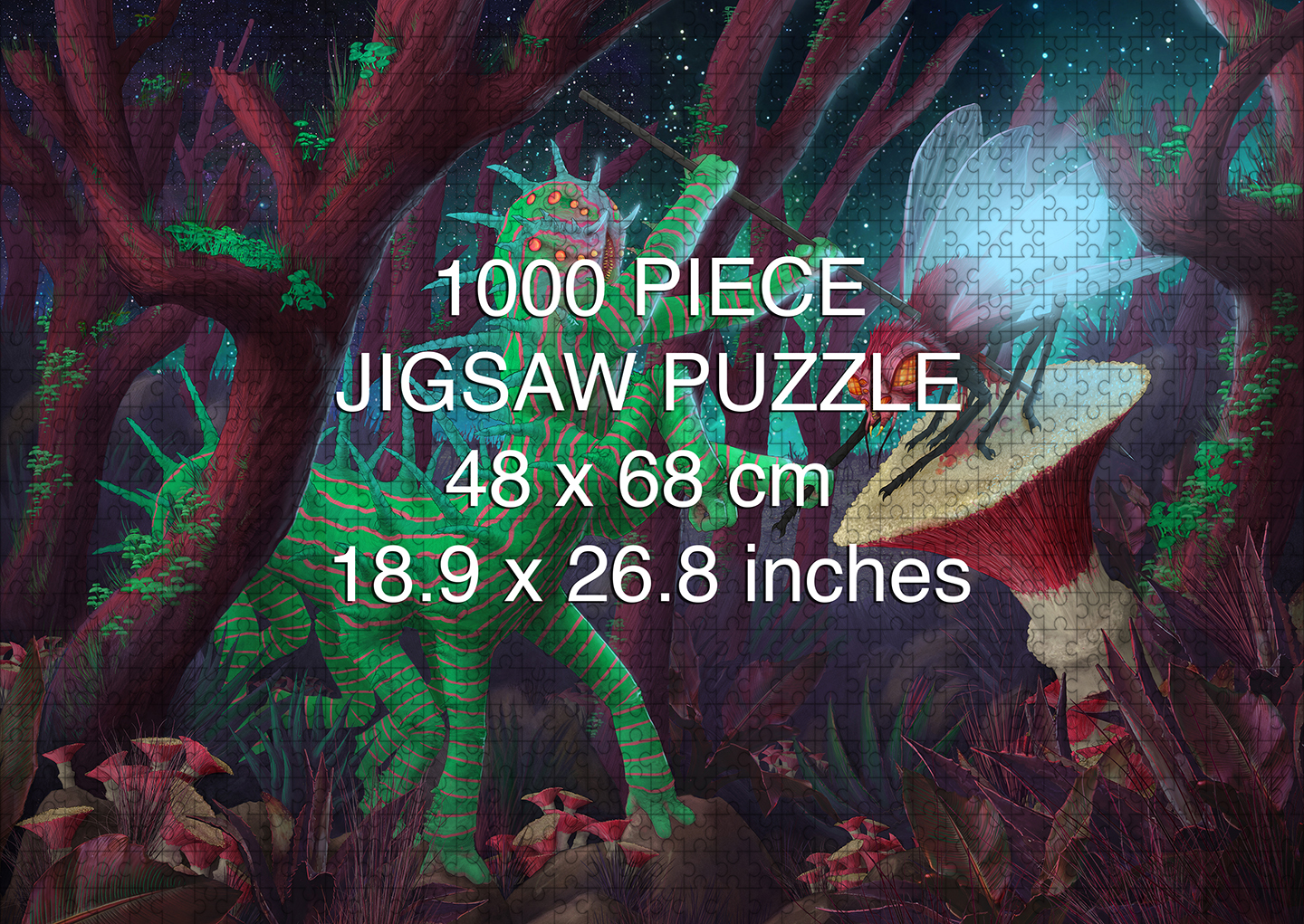 A Deilicate Balance. The KRex Brucus Hunts the Koba Fliege 1000 piece puzzle by Aaron Wolf and Pandemic Puzzlesingdom