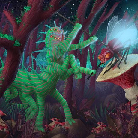 A digital artwork of a giant alien caterpillar hunting a luminescent fly with a spear at night. Available as a jigsaw puzzle