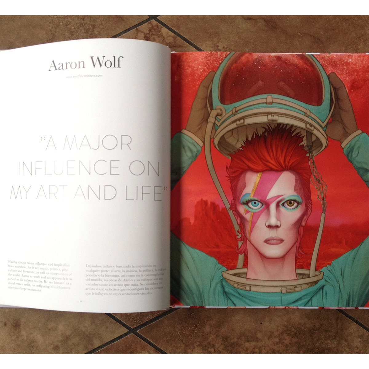 David Bowie: Ziggy Stardust artwork by Aaron Wolf. Artwork featured in Monsa Publishing's David Bowie Tribute