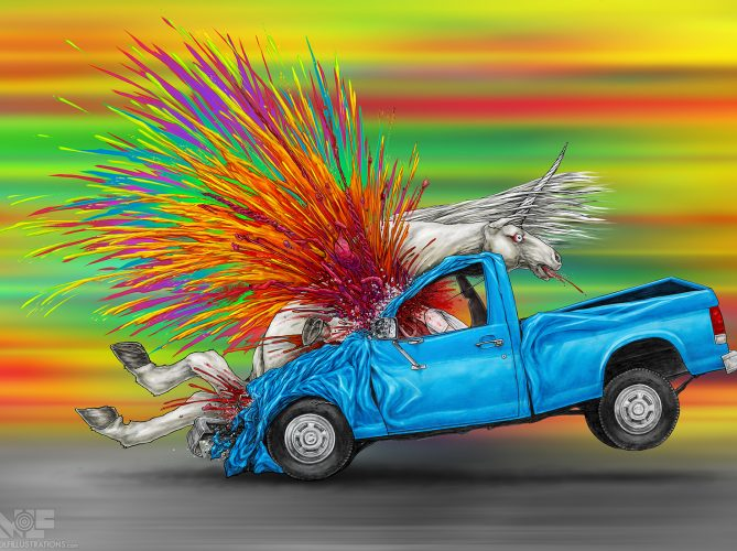 An artwork by aaron Wolf for Pandemic Puzzles illustrates the vibrant rainbow explosion of a unicorn being hit by a pickup truck
